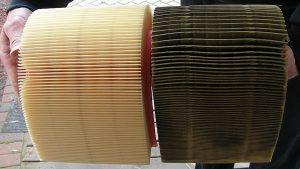 Starý a nový vzduchový filtr
