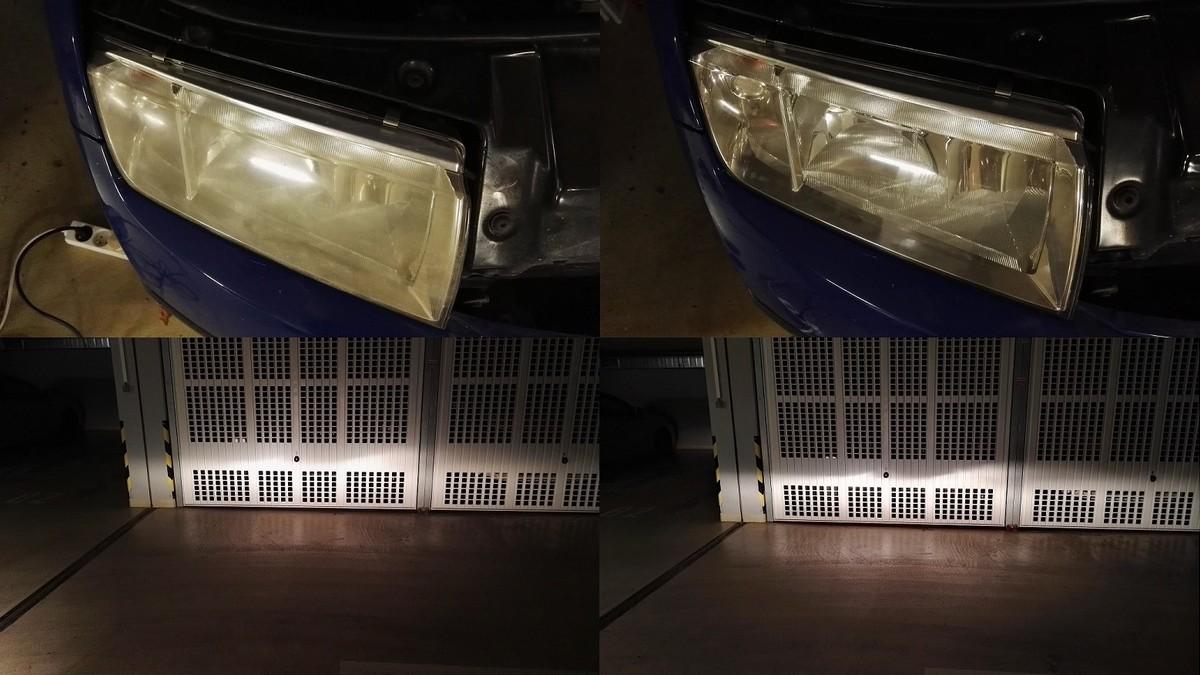 Žluté světlomety - rozdíl